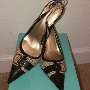 Guess Logo Print High Heels